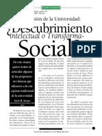 John Searle. La Misión de La Universidad. Descubrimiento Intelectual o Transformación Social