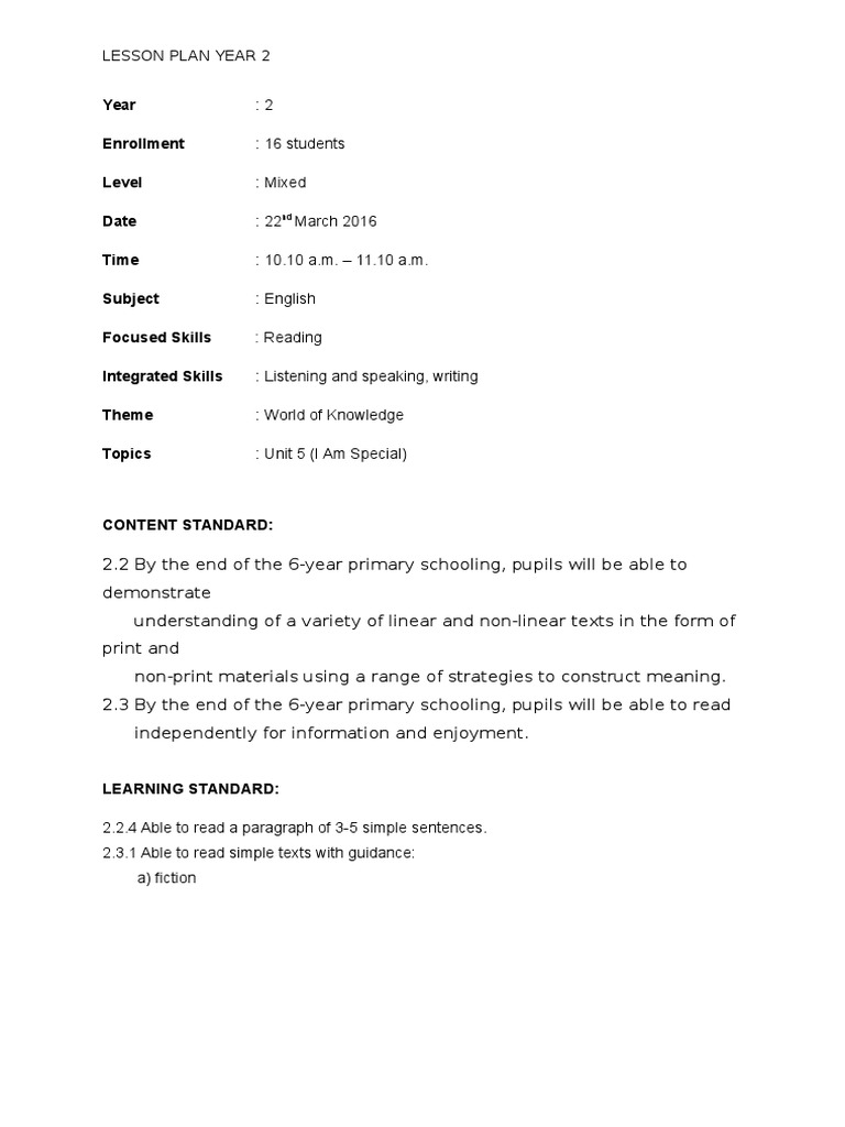 Lesson Plan Reading Year 2 English Kssr Topic 5 I Am Special