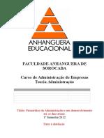 Atps adm anhanguera - Teoria da administração