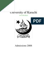 University of Karachi Admission form
