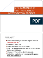 Things to Remember in Writing the Science Investigatory