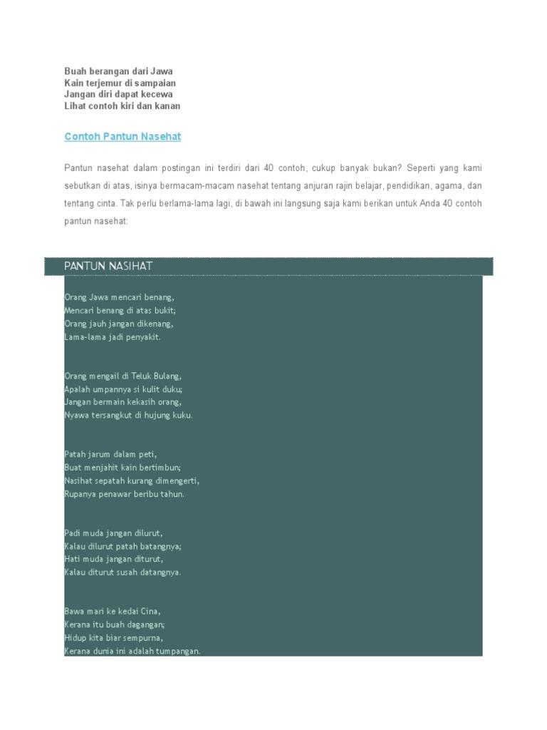 Contoh Soal Dan Materi Pelajaran 6 Contoh Pantun Nasehat Agama