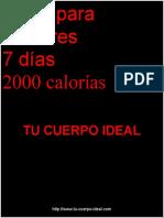 Plan de Alimentacion de 2000 calorías