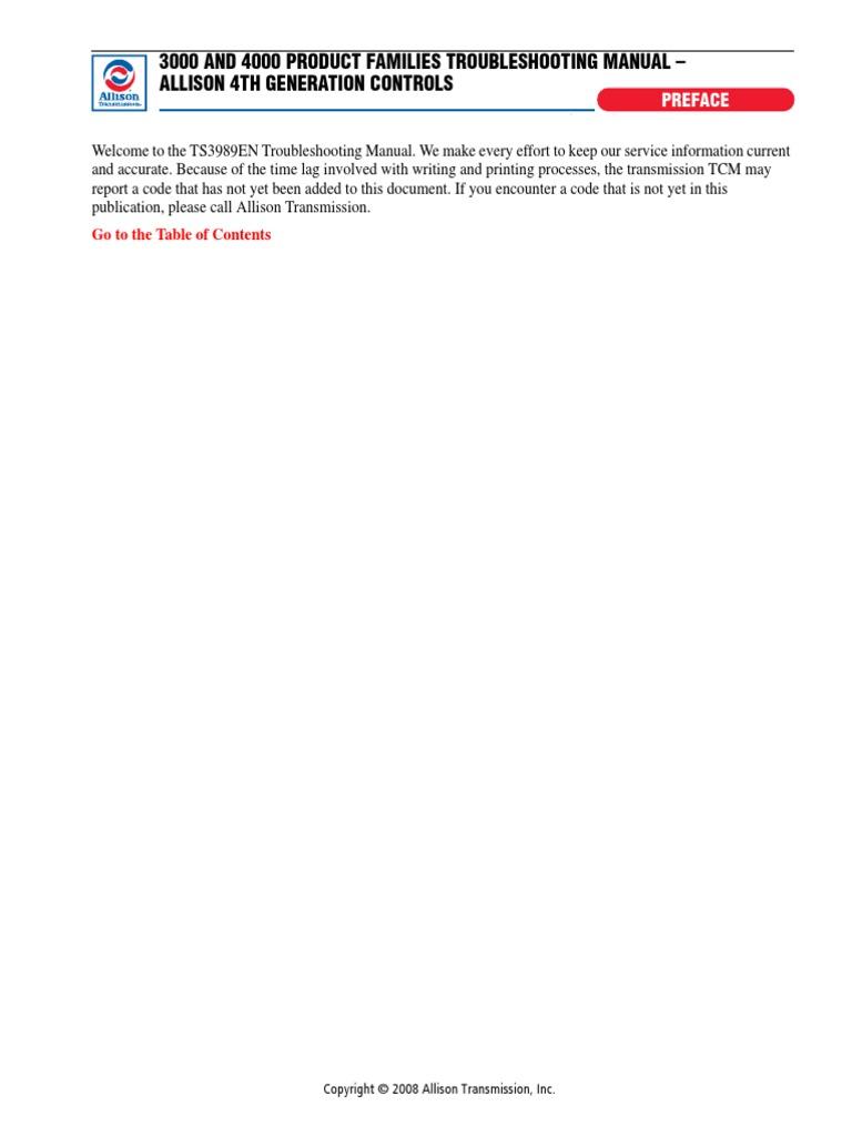 allison 3000-4000 series troubleshooting | manual transmission |  transmission (mechanics)