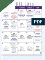 Hope Parkinson Program Calendar Spring 2016