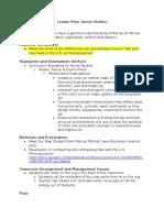 sample lesson plan - social studies