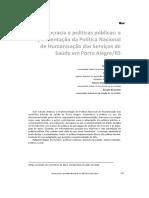 Artigo - Burocracia e Políticas- A Implementação Da Política Nacional de Humanização Dos Serviços de Saúde Em Porto Alegre - RS - L