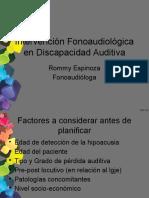 Intervencion en Trastorno Del Lenguaje Sencundario a Hipoacusia