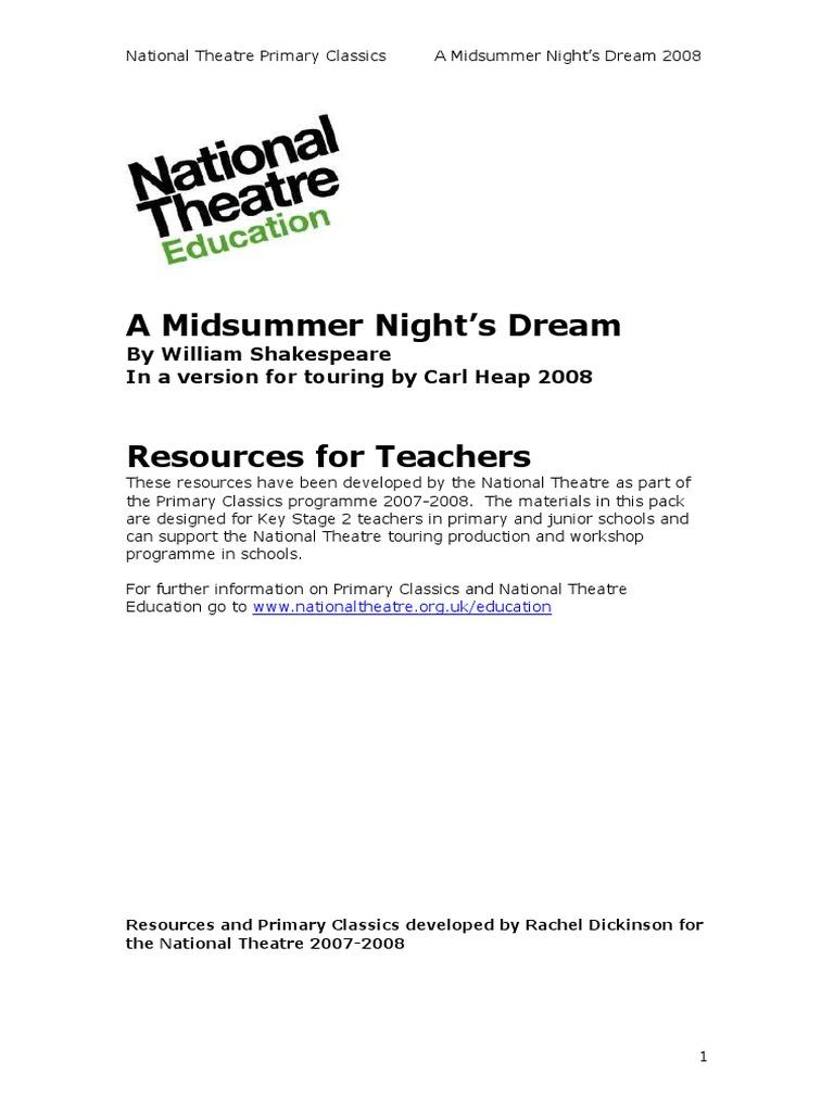 A Midsummer Nights Dream Teachers Resources