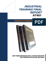 Kaedah Penulisan Industrial Training Final Report At401@Dut40110 - Rujukan