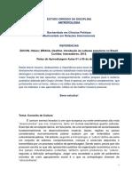ESTUDO DIRIGIDO - ANTROPOLOGIA