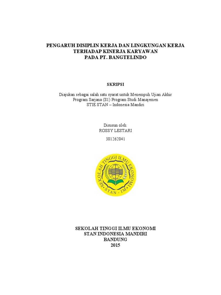 Rossy Lestari Pengaruh Disiplin Kerja Dan Lingkungan Kerja Terhadap Kinerja