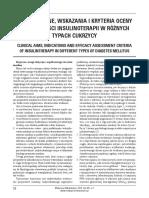 [MM2016-1-058] Cele kliniczne, wskazania i kryteria oceny skuteczności insulinoterapii w różnych typach cukrzycy