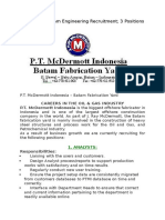 McDermott Batam Engineering Recruitment 3 Positions