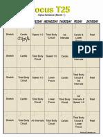 T25 Workout Calendar Month 1