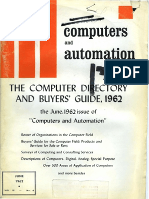 Computer Directory and Buyers Guide, 1962 | Electronic