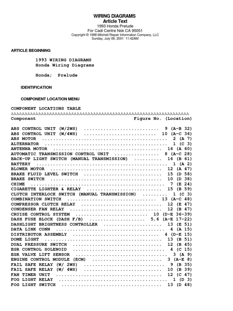 93 Honda Prelude Wiring Diagram Electricity 1993 Goldwing 92 96 Diagrams Rh Scribd Com Ecu