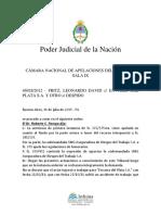 Fritz Leonardo David c. Envases Del Plata s.a. y Otro s. Despi