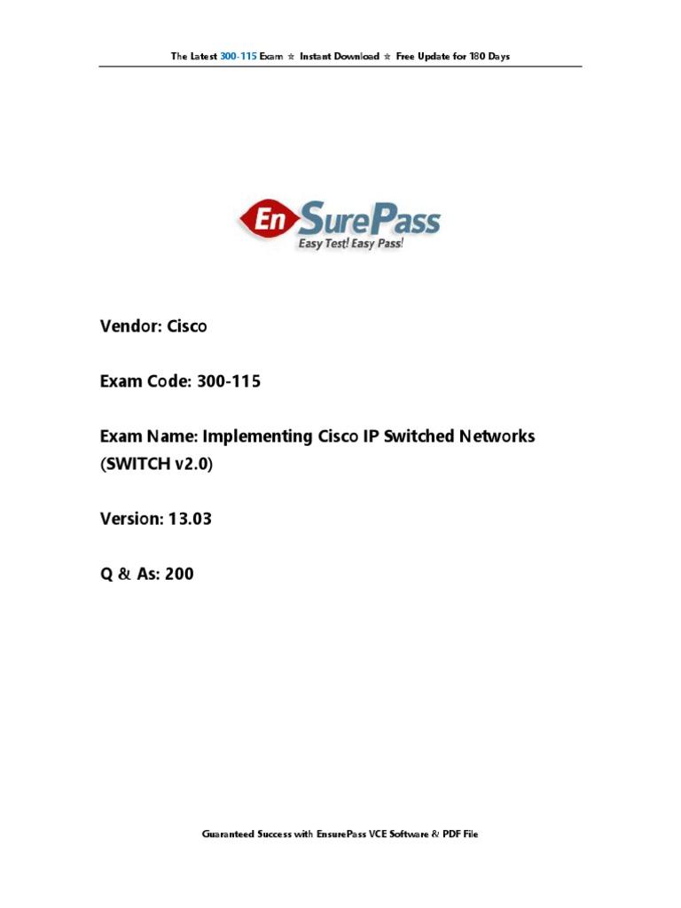 Cisco.300 115.Ensurepass.practice Questions | Network Switch ...