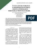 Alisis Tata Letak Fasilitas Dalam Meminimasi Material Handling Studi Kasus - Perusahaan Roti Matahari