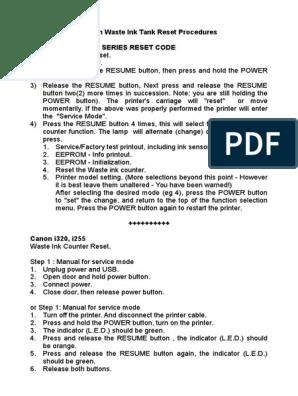 Canon Waste Ink Tank Reset Procedures | Printer (Computing