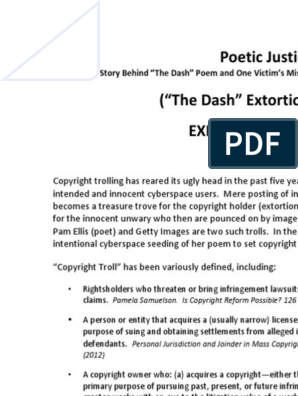 Linda Ellis Copyright The Dash Extortion Scheme Action Plan Copyright Infringement Digital Millennium Copyright Act Resources > poems > life > i'm glad you're in my dash. linda ellis copyright the dash