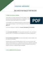 Chile y Sus Recursos Naturales Por Zona