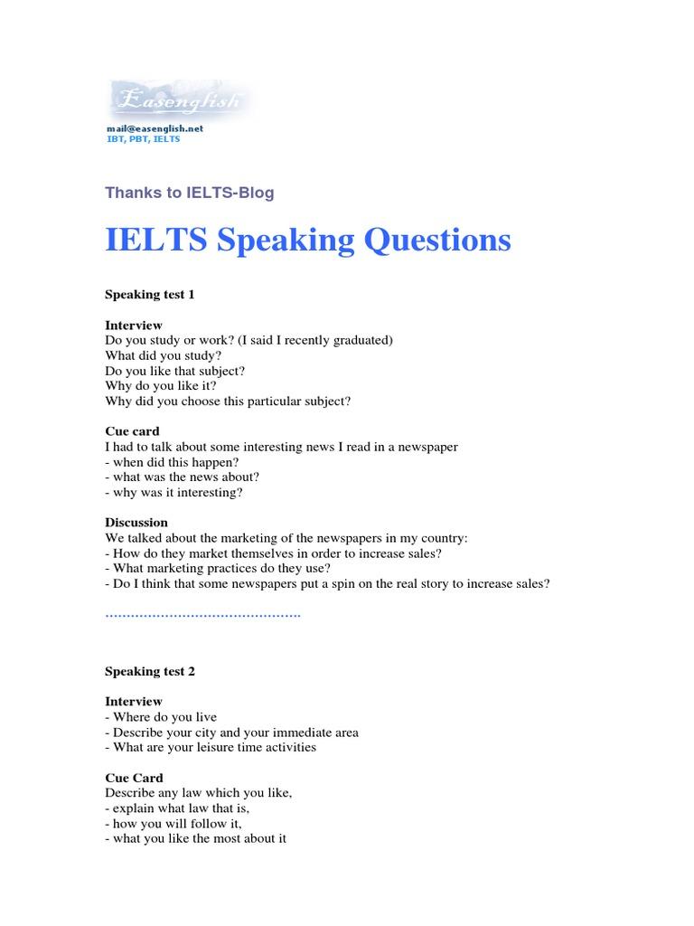 complete speaking topics pdf interview