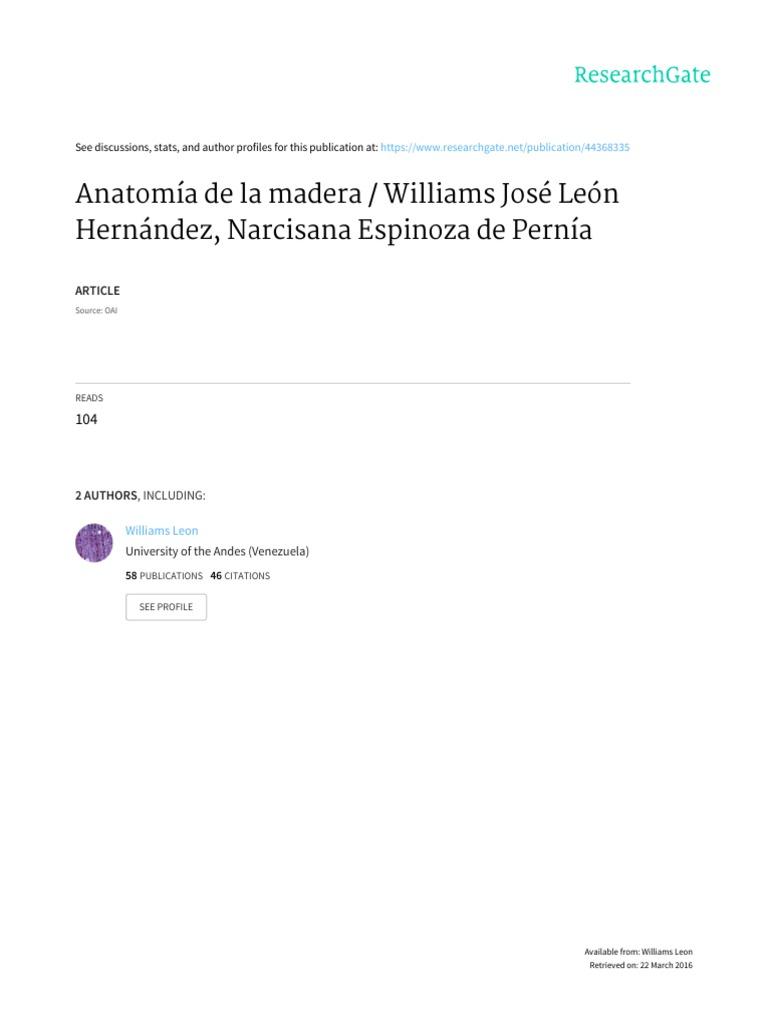 Anatomía de la madera. León & Espinoza de Pernía (2001)