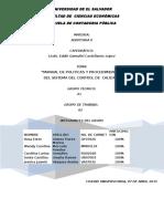 Manual de Politicas y Procedimientos de Control de Calidad 2015 AUDITORIA II