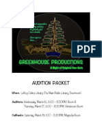 Greenhouse Production -- Audition Packet -- Play Summaries & Cold Reading Exerpts -- Final
