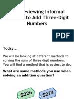 8 1 reviewing informal methods to add three-digit numbers