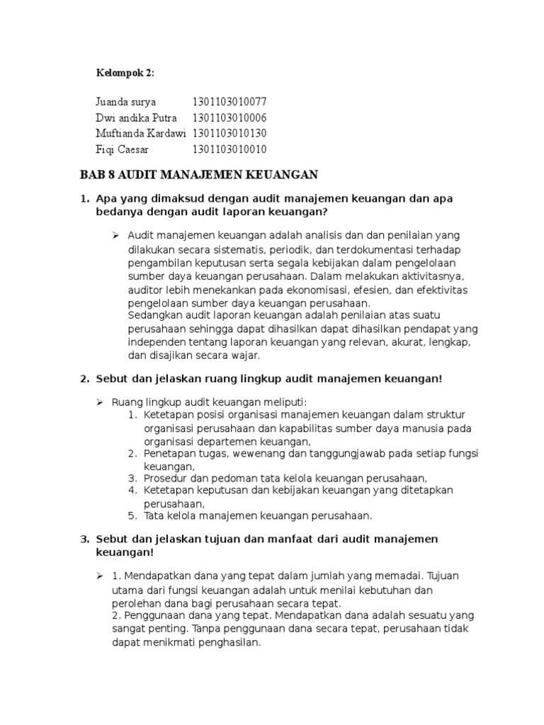 Audit Manajemen Bab 8 Docx