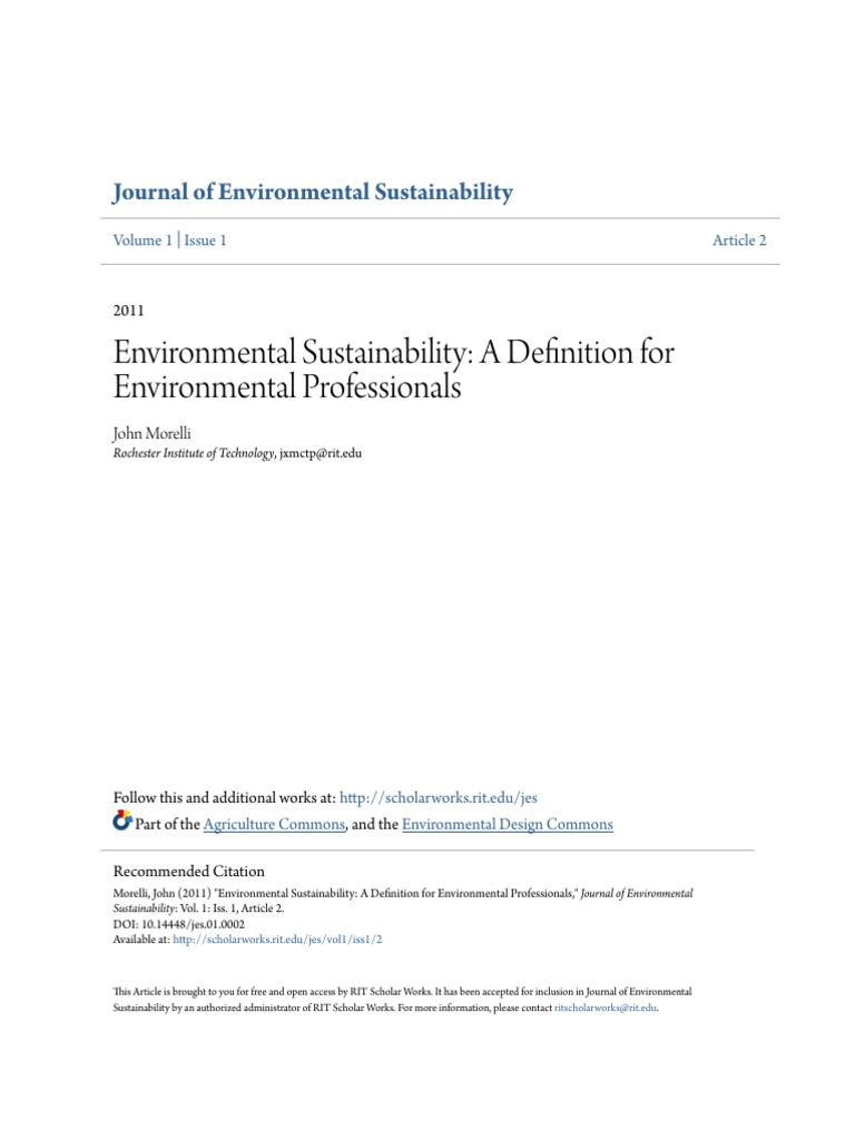 environmental sustainability- a definition for environmental prof