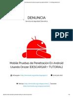 Mobile Pruebas de Penetración En Android Usando Drozer [DESCARGAR + TUTORIAL] _ DENUNCIA