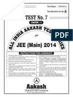JEE Main 2014_Test 7 (Paper I) Code A