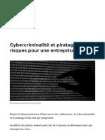 Cybercriminalité et piratage, les risques pour une entreprise