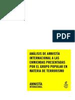 Análisis de La Reforma Código Penal en Materia de Terrorismo. Amnistía Internacional. ALA