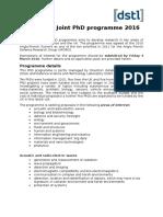 UK-France PhD 2016 Information