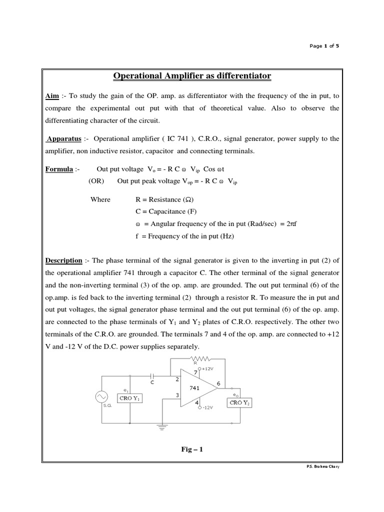Operational Amplifier 741 As Differentiator2 Capacitor Op Amp The Is A Very Useful Ic It