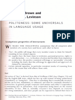 175689403 Brown and Levinson 1987 Politeness Some Universals in Language Usage