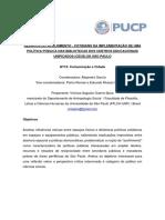 DESAFIOS DO ACOLHIMENTO - COTIDIANO DA IMPLEMENTAÇÃO DE UMA POLÍTICA PÚBLICA NAS BIBLIOTECAS DOS CENTROS EDUCACIONAIS UNIFICADOS (CEUS) DE SÃO PAULO