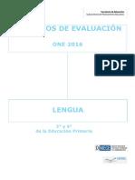 Criterios de Evaluación ONE 2016 Lengua Educación Primaria