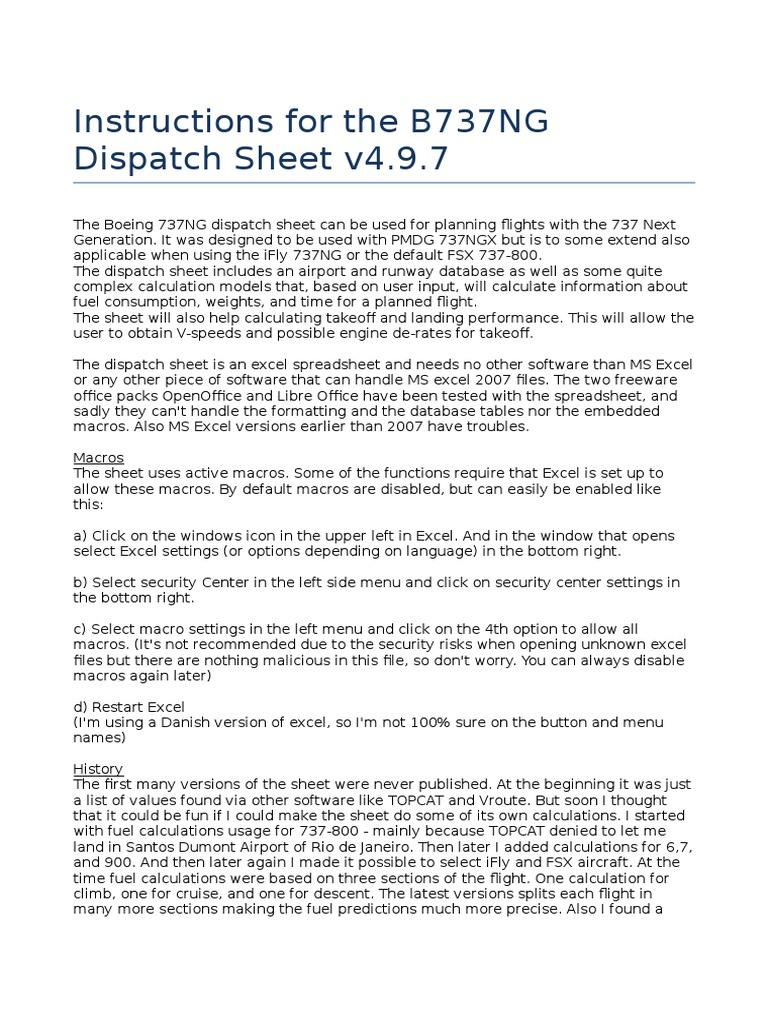 Instructions for the B737NG Dispatch Sheet v4_9_7 | Microsoft Excel