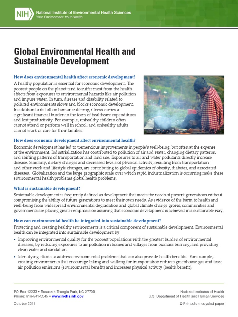 Global Environmental Health And Sustainable Development 508