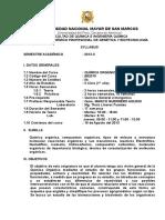 Syllabus Química Orgánica UNMSM