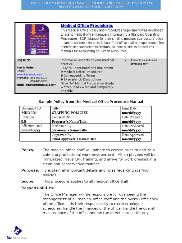 Bizmanualz Medical Office Policies and Procedures Sample | Nursing | Health  Care