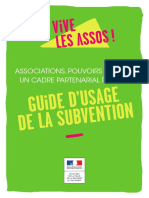 Guide d'usage de la subvention