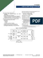 CY7C64225 USB to UART Bridge Controller Datasheet