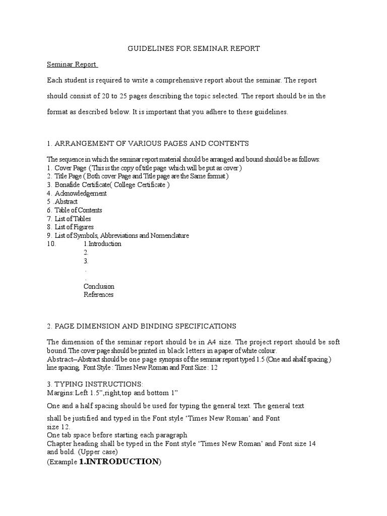 guidelines for seminar